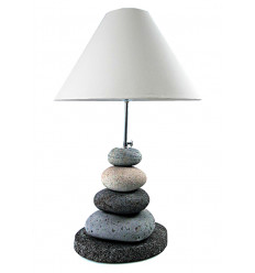 Lamp Pebble gray volcanic stone, natural H60cm. Creation craft.