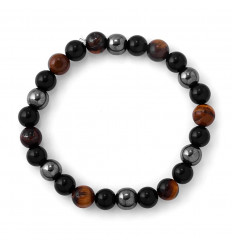 Bracelet mixed multipierres : Eye of the Tiger, Hematite, black Obsidian
