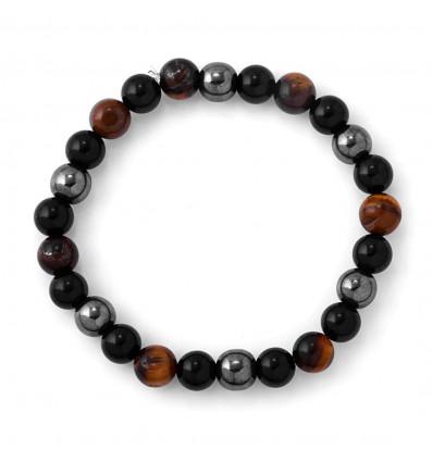 Bracelet mixte multipierres : Oeil du Tigre, Hématite, Obsidienne noire