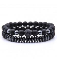Set of 2 black Agate and Hematite bracelets