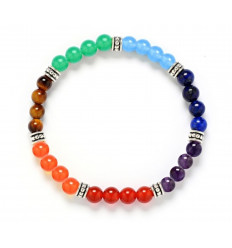 Bracelet 7 chakras, stones 6mm and silver-plated beads