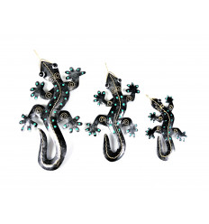 Lot de 3 Salamandres / Geckos en fer forgé artisanal. Décoration murale.