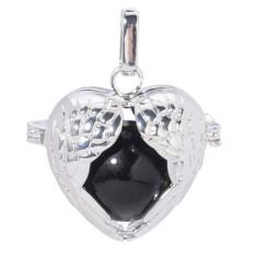 Bola de grossesse Forme coeur en ailes d'Ange avec chaîne en métal argenté