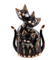 Statue Famille 3 chats en bois H40cm. Fabrication artisanale.