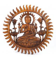 Décor mural Bouddha, sculpture sur bois asie.