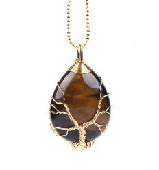 Necklace with pendant Tree of life in the form of a droplet. Tiger eye - Protection, and self-Confidence