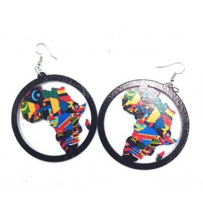 Orecchini in Africa reggae - Mappa dell'Africa colorato