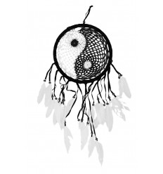 Attrape-rêves Yin Yang 60x25cm noir et blanc