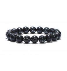 Bracelet Lithothérapie en Howlite noire - Ancrage, relaxation, méditation.