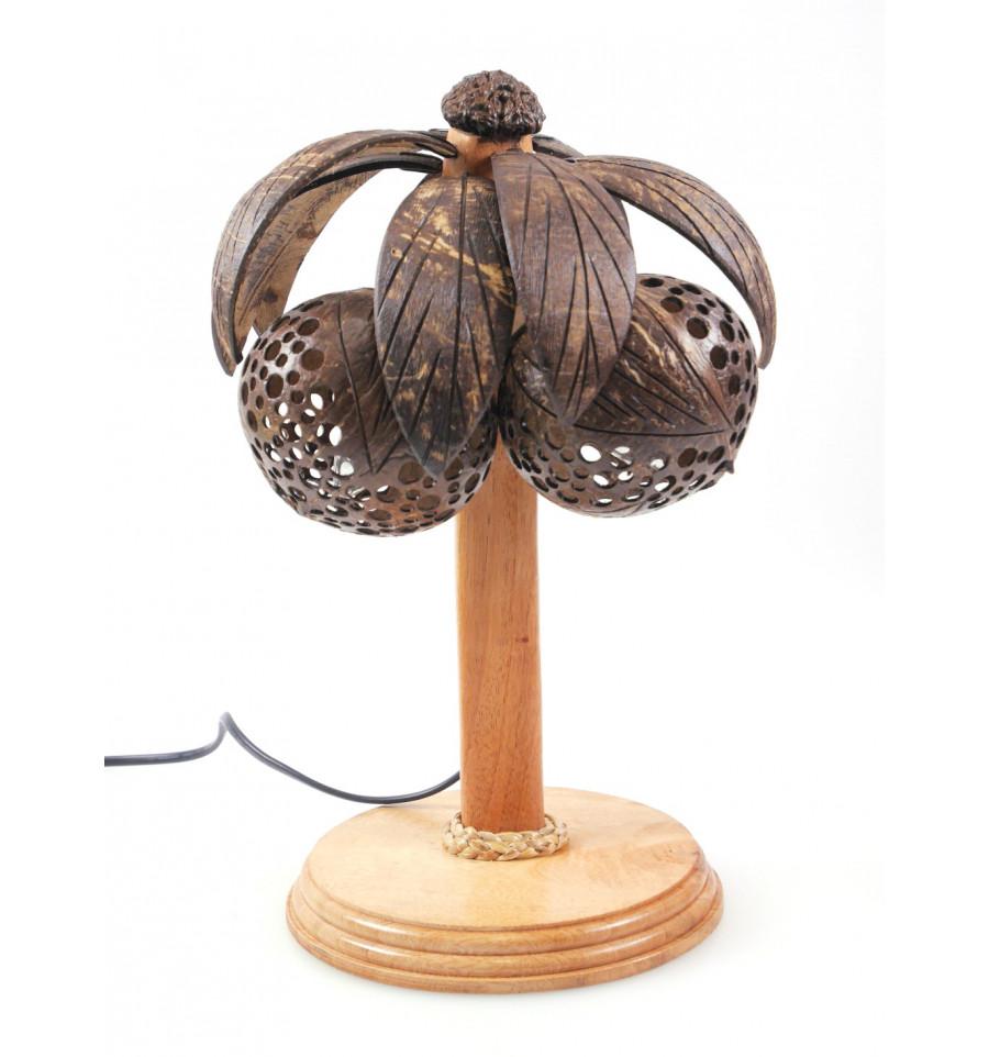 lampe chevet palmier cocotier bois et noix de coco artisanat tha lande. Black Bedroom Furniture Sets. Home Design Ideas