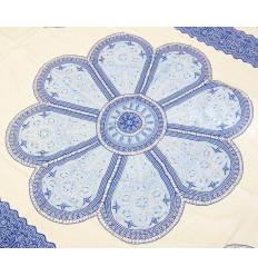Attaccatura di parete 170x115cm stile mandala - Bianco e blu con paillettes argento