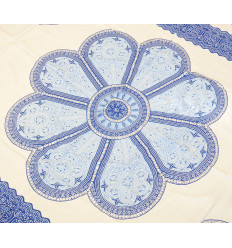 Wall hanging 170x115cm style mandala - blue and White with sequins silver
