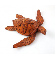 Statue Turtle and her baby. Wood carving artisan.