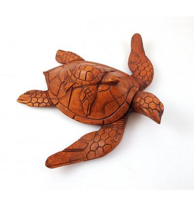 Statua di tartaruga, scultura in legno. Collezione di oggetti di decorazione tartaruga.