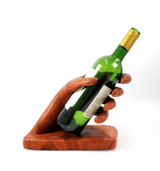 "Bottle holder - Display wine bottle ""Hand"" by wood."