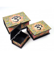 Boxes stowaway x3 wood decor Buddha Ôm. Handcrafted.