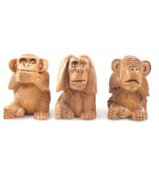 """Le 3 scimmie """"segreto della felicità"""". Statuette in legno massello 10"""
