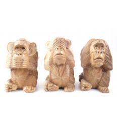 Les 3 singes de la sagesse XL. Statues en bois brut H20cm