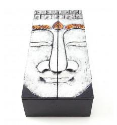 Scatola da tè, contenitore di monili di legno modello di Buddha. Fatti a mano.