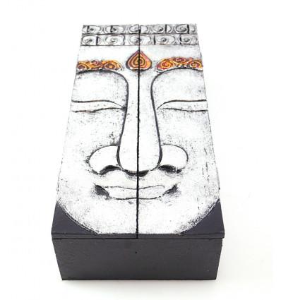Scatola da tè, contenitore di gioielli di legno di buddha. Decorazione Di Buddha.