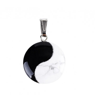 Necklace pendant Yin Yang in howlite and onyx. Jewelry Zen not expensive.