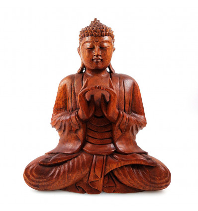 Sculpture Bouddha Shakyamuni assis en bois. Statue Bouddha Bali.