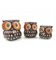 Trio of statuettes of Owls / Owls in wood, handcrafted.