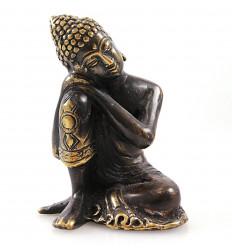 Statuetta di Buddha pensatore in bronzo massiccio mestieri dell'Asia.