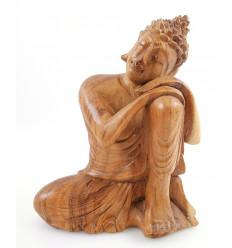 Statue de Bouddha penseur h20cm en bois brut sculpté main