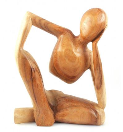 Statue Penseur Africain h30cm en bois exotique brut