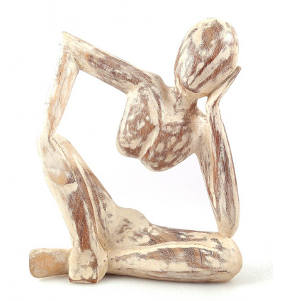 "Statuette abstract ""Thinker"" H20cm - solid Wood white brushed"