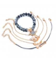 Combo 5 bracelets bohemian-style metal golden, symbols of the infinite, turtle, love, ...