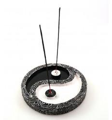 Grand porte-encens chinois yin yang décoratif en bois pour bâtons.