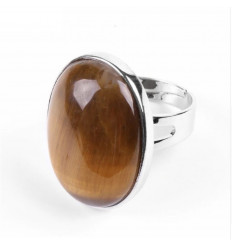 Ring adjustable oval Stone Eye of Tiger