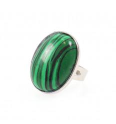 Ring adjustable oval Stone Malachite