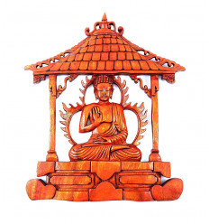 """Decorazione murale """"il tempio del Buddha"""". Scultura artigianale in legno."""