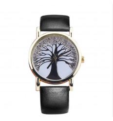 Montre fantaisie motif Arbre de Vie - bracelet similicuir noir