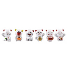 Lucky cats - Lot de 6 chats Maneki Neko - Porte-bonheur
