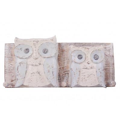 Robe hook wall owl owl wood, decor animals, baby room.