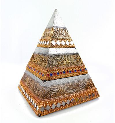 Boîte à bijoux compartiments en bois, forme pyramide originale doré.