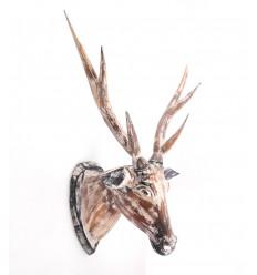 Large Deer head in wood, trophy decoration, bohemian and scandinavian.