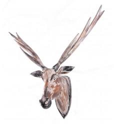 Testa di cervo XL basso in legno, trofeo bohemien chic scandinava.