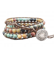 Bracelet Wrap Cuff leather and natural stones - Peace and serenity