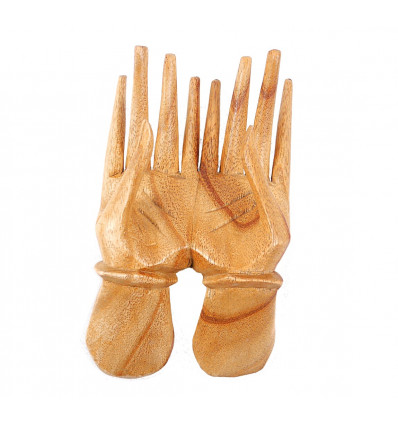 Hands of Buddha display for rings and cards in raw wood