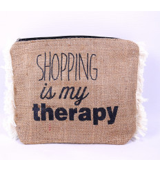 Kit / bag in jute with a fun message.