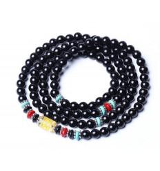 Bracelet Tibétain multitour - Agate noire et cristal de Roche