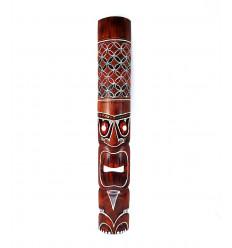 Tiki mask h30cm wood colorful pattern. Deco Tiki.