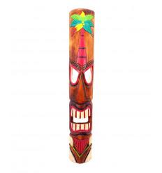 Grand masque tiki h100cm en bois motif palmier. Déco murale maori hawaï