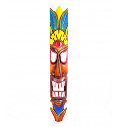 Grande maschera di legno Tiki h100cm modello di piume colorate decorazione Hawaii Maori !