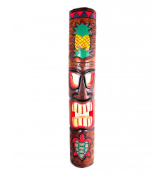 Arredamento parete maschera Tiki e Tartaruga H100cm legno, a forma di surf.